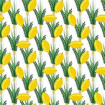 Jewish festival of sukkot traditional seamless pattern judaism background religion festival citrus willow vector illustration. citron leaf lemon succot festive fruit culture.