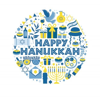 Jewish holiday hanukkah greeting card traditional chanukah illustration in circle.