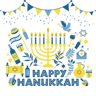 Jewish holiday hanukkah greeting card traditional chanukah.