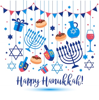 Jewish holiday hanukkah greeting card traditional symbols.