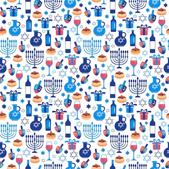 Jewish holiday hanukkah greeting card with traditional symbols.