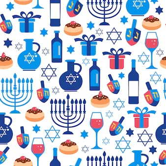 Jewish holiday Hanukkah greeting card with traditional symbols.