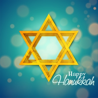 Jewish holiday hanukkah with golden symbol on blue.