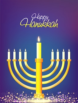 Jewish holiday hanukkah with menorah (traditional candelabra) celebration concept.