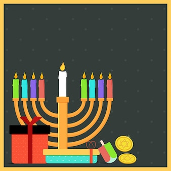 Jewish holiday hanukkah with menorah (traditional candelabra), donut and wooden dreidel (spinning top), coins, and gift boxes.