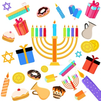 Jewish holiday hanukkah with menorah (traditional candelabra), donut and wooden dreidel (spinning top) and other elements.