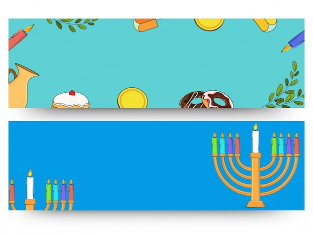 Jewish holiday hanukkah with menorah (traditional candelabra), donut and wooden dreidel (spinning top). web header or banner.