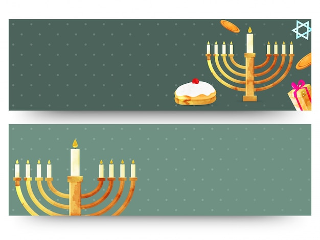 Jewish holiday hanukkah with menorah (traditional candelabra), donut and wooden dreidel (spinning top). web headers or banners.