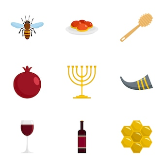Jewish holiday icon set, flat style