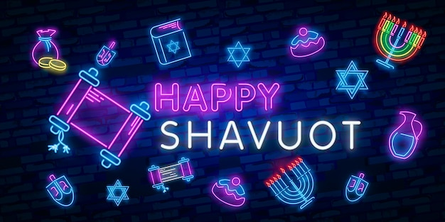 Jewish holiday of shavuot. vector set of realistic isolated neon sign of shavuot jewish