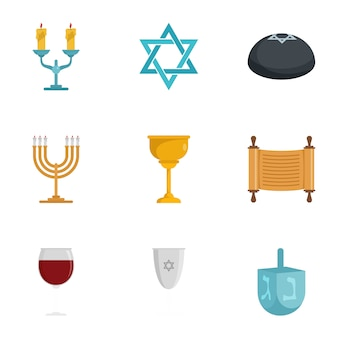 Jewish icon set. flat set of 9 jewish