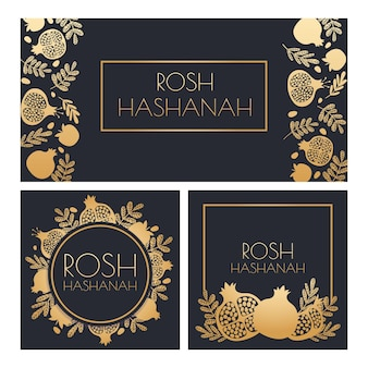 Jewish new year. happy shana tova, rosh hashanah holiday symbols and pomegranate greeting posters vector template. golden fruit and plant leaves on dark invitation cards set, floral wreath