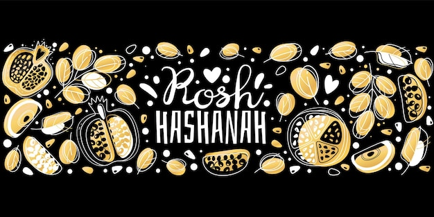 Jewish new year. rosh hashanah, shana tova israel holiday greeting card with tradition symbols apple, leaves and pomegranate vector flat yellow horizontal banner or poster isolated on black background