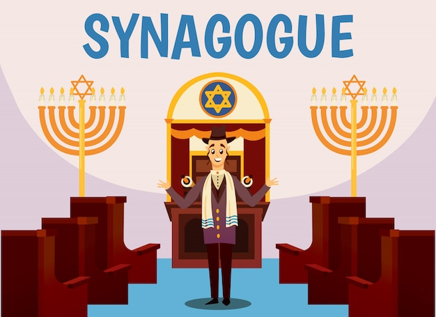 Jewish synagogue cartoon illustration
