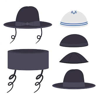Jewish traditional hats cartoon set isolated on white background.