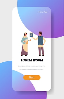 Jews couple holding bible book and jug jewish man woman in traditional clothes standing together happy hanukkah judaism religious holidays concept full length vertical vector illustration