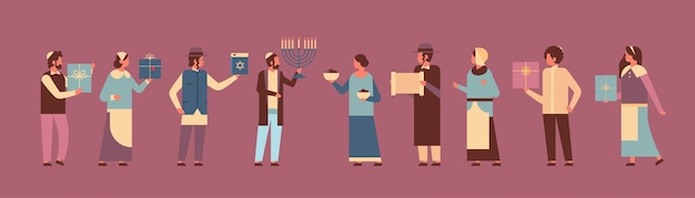 Jews people standing together jewish men women in traditional clothes happy hanukkah