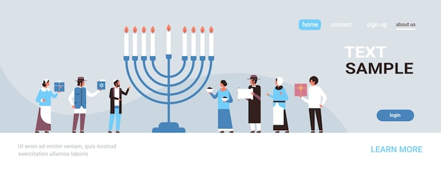 Jews people standing together near menorah jewish men women in traditional clothes happy hanukkah