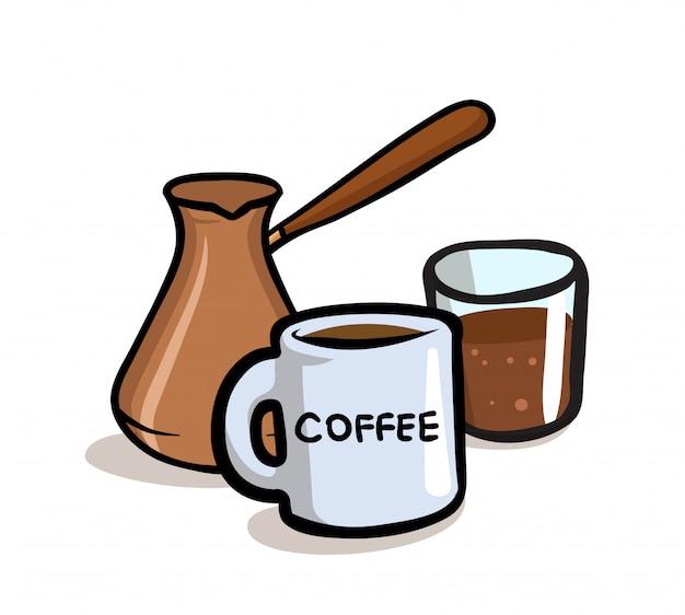 Jezve 터키 커피 포트와 커피 컵. 삽화. 흰색 바탕에.