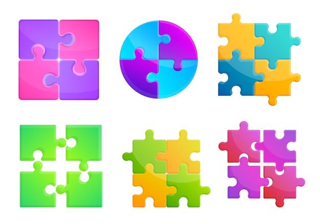 Jigsaw icons set