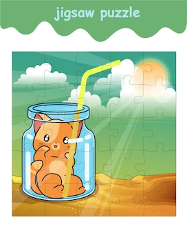 Jigsaw puzzle game of adorable cat in the bottle