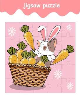 Jigsaw puzzle game of bunny cat with carrots