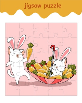 Jigsaw puzzle game of bunny cats with carrots