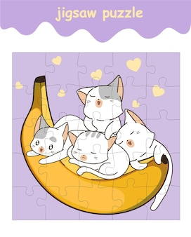 Jigsaw puzzle game of cats with banana