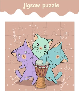 Jigsaw puzzle game of cats with a drum