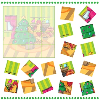 Jigsaw puzzle game for children happy new year card. cartoon cock with tree. rooster. vector illustration.