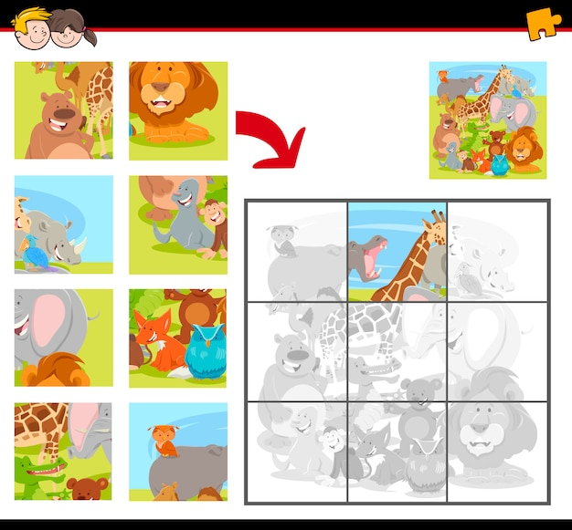 Jigsaw puzzle game for children with animals group