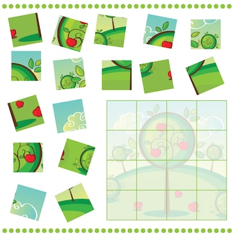 Jigsaw puzzle game for children with apple tree