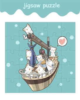 Jigsaw puzzle game of cute cats on the ship