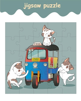 Jigsaw puzzle game of cute cats with tuk tuk
