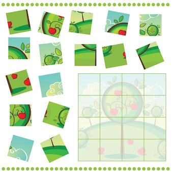 リンゴの木を持つ子供のためのジグソーパズルゲーム