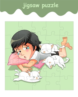 Jigsaw puzzle game of girl with 3 little cats