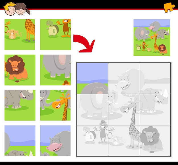 Jigsaw puzzle game for kids with animals