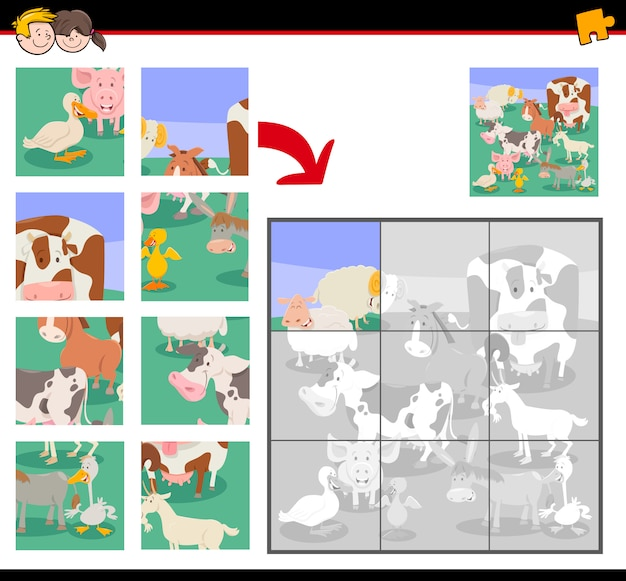 Jigsaw puzzle game for kids with farm animals