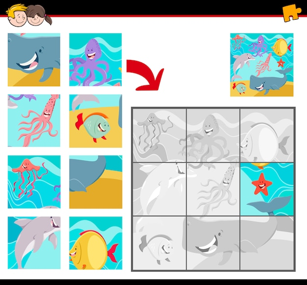 Jigsaw puzzle game for kids with sea life animals