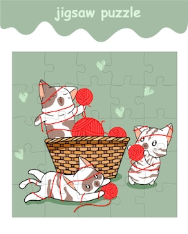Jigsaw puzzle game of naughty cats playing yarn