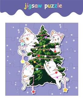 Игра-головоломка про очаровательных котиков с елкой