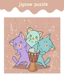 太鼓を持った猫のジグソーパズルゲーム