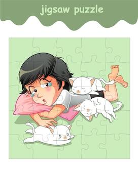 3匹の小さな猫と女の子のジグソーパズルゲーム
