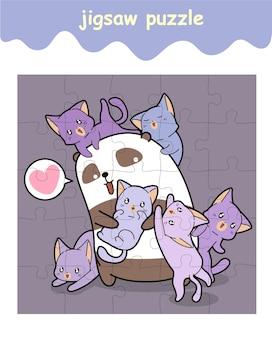 パンダと猫のジグソーパズルゲーム