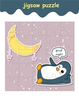 Пазл пингвин говорит спокойной ночи с луной