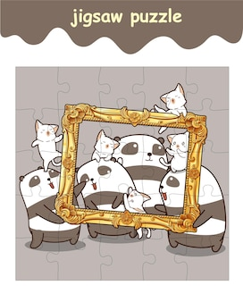 Jigsaw puzzle game of pandas and cats with luxury frame