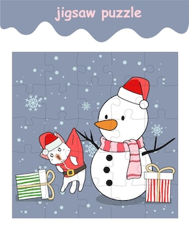 Jigsaw puzzle game of santa cat with snow man