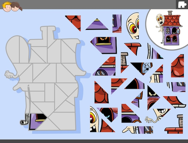 Jigsaw puzzle game with cartoon ghost character and haunted house