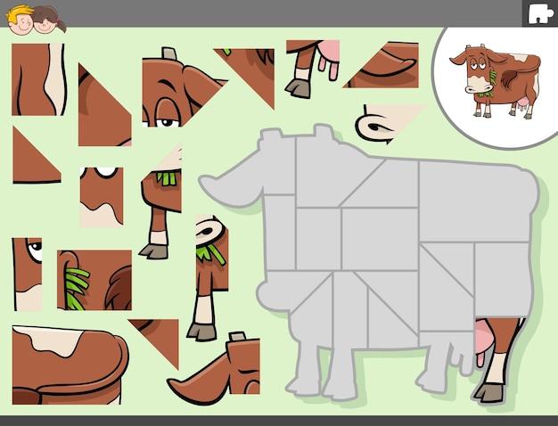 牛の農場の動物のキャラクターとジグソーパズルゲーム