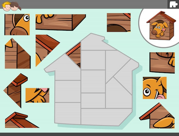 Jigsaw puzzle game with dog character in kennel